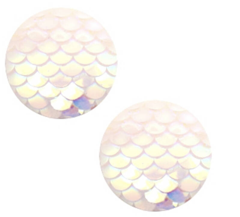 Cabouchon mermaid holographic white 12mm