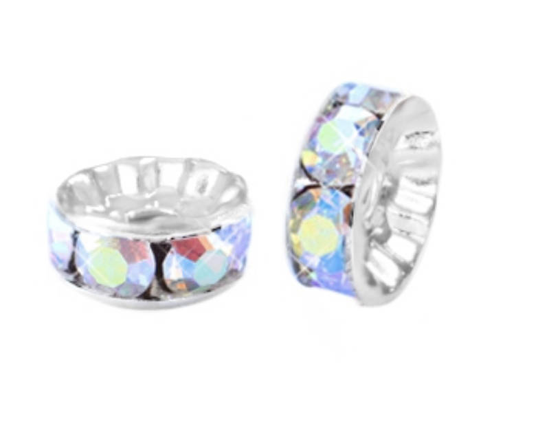 Strass disc kralen 6mm crystal AB coated