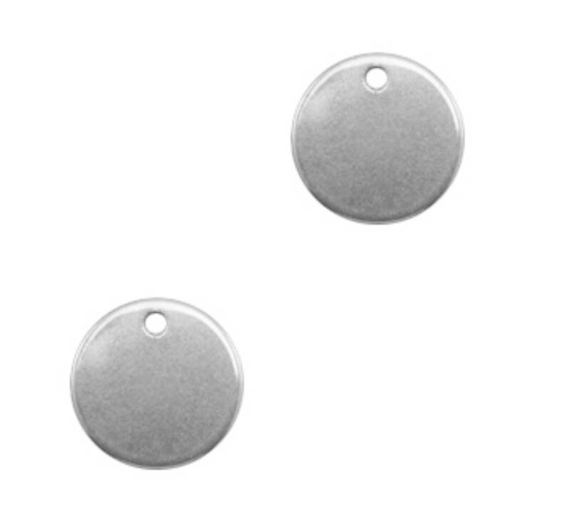 Bedels coin / muntje 8mm stainless steel