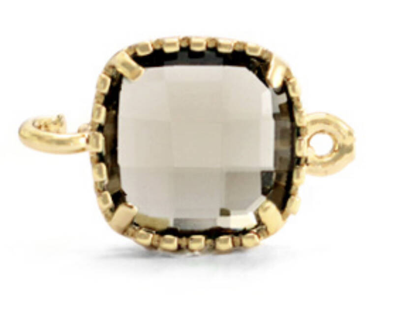 Crystal glas tussenstuk square black diamond - gold
