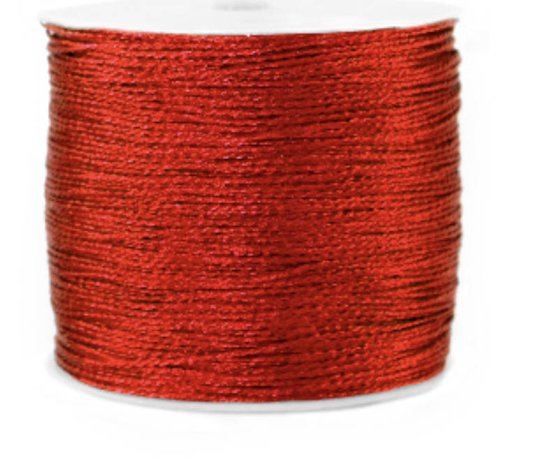Metallic macramé draad 0,8mm Deep red