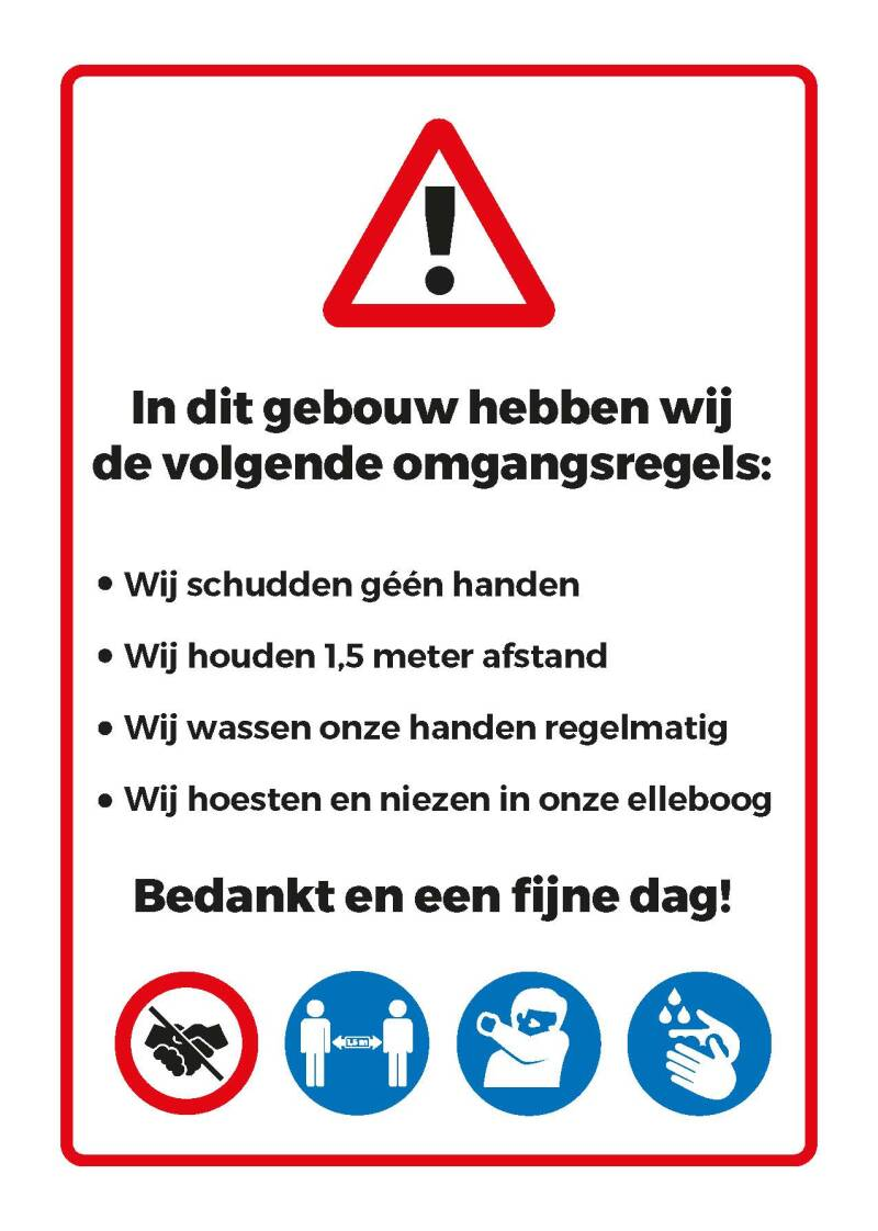 sticker OPSOMMING OMGANGSREGELS a4 formaat