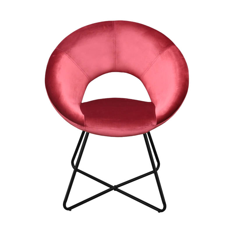 Kick Collection - Fauteuil Coco velvet rood met zwart frame