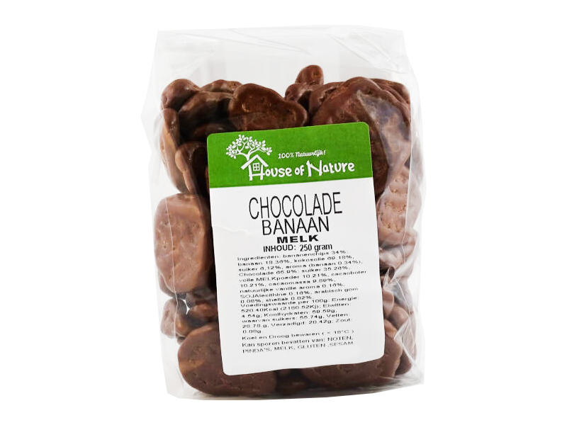 House of Nature choco bananenchips 250g - 3416