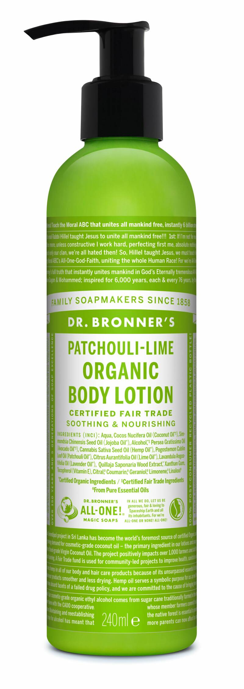 Dr Bronners Bodylotion patchouli/lime 240ml - 61101