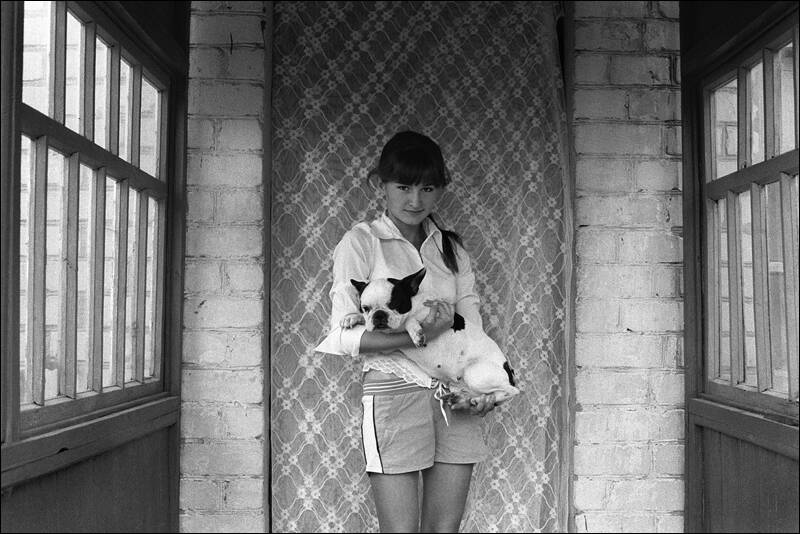 Girl with the french bulldog on the hands