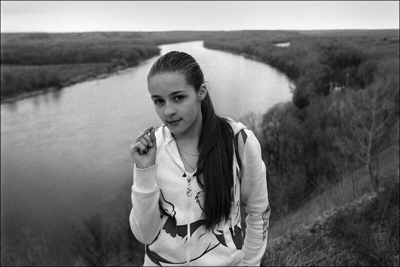 The girls portrait in the natural boundary of krotoyar