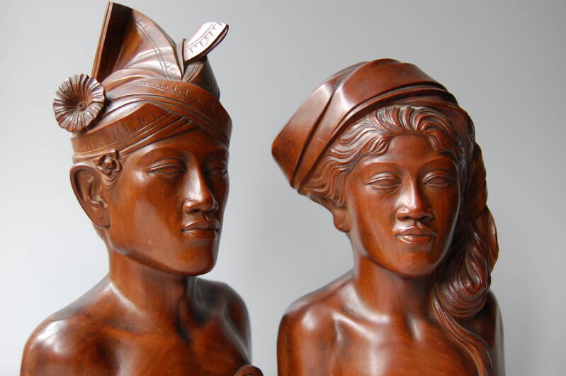 Pair of Art Deco Bali busts of man and woman
