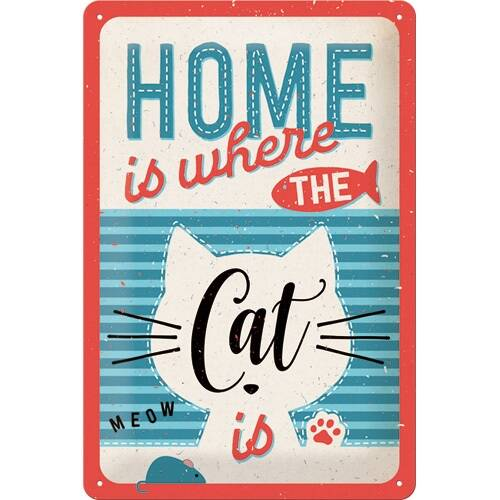 """Metalen wandbord """"Home is where the cat is"""""""