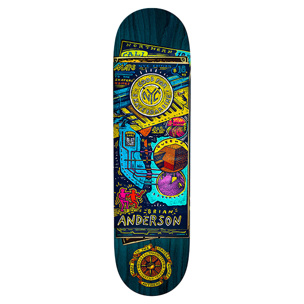 Anti Hero Skateboard Deck - Russo Maps To The Skaters Homes 8.75