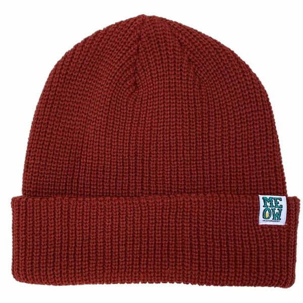 Meow Skateboard Beanie - Stacked Maroon