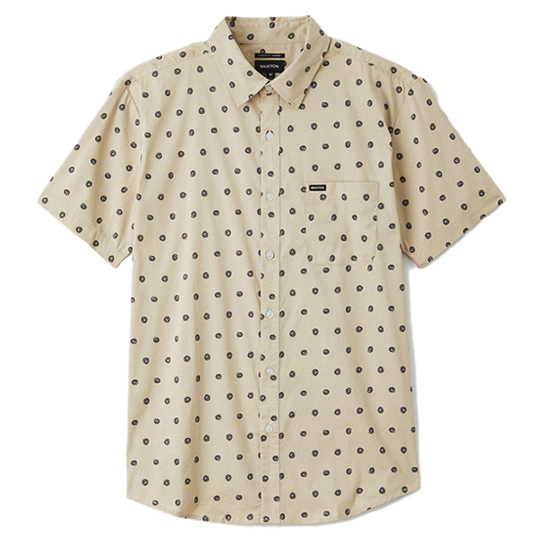 Brixton Shirt - Charter Print Woven Off White Charcoal