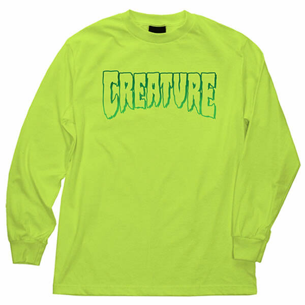 Creature Longsleeve Logo Outline - Safety Green
