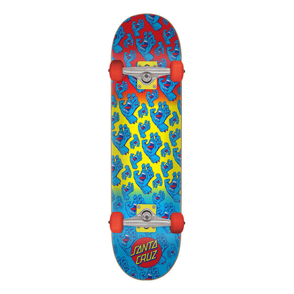 "Santa Cruz Hands Allover Blue/red/yellow 7,8"" Complete Skateboard"