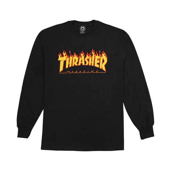 Thrasher T-Shirt Flame Longsleeve - Black