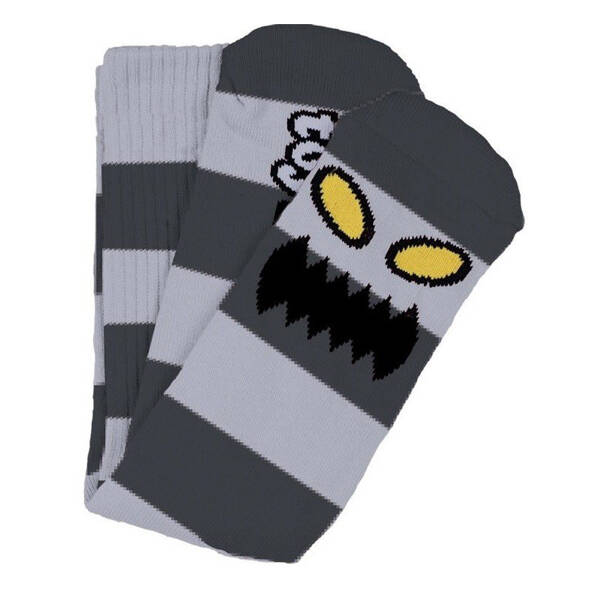 Toy Machine Crew Socks Monster Big Stripe Grey