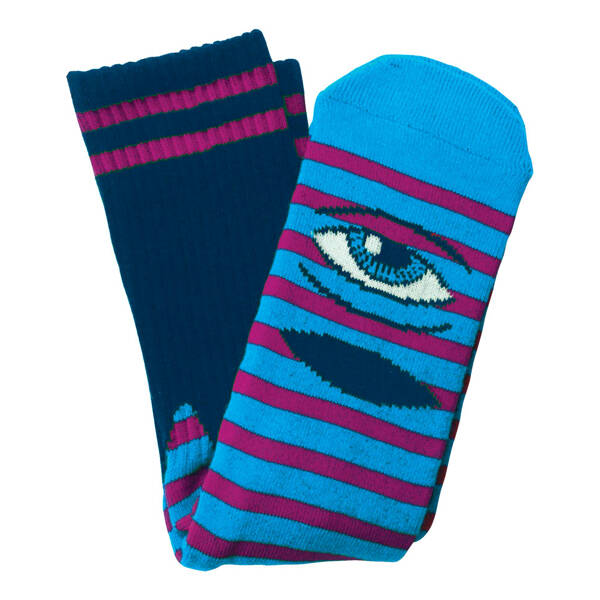 Toy Machine Crew Socks Sect Eye Stripe Socks - Navy/Purple