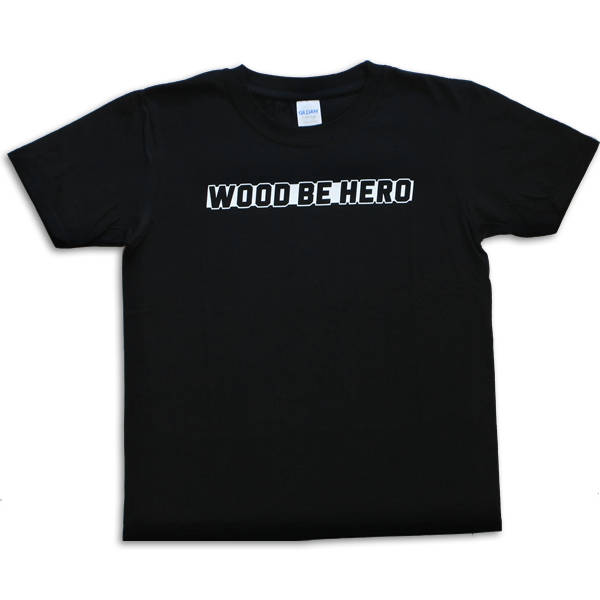 Wood be Hero Skateshop Kids T-Shirt Big Logo - Black