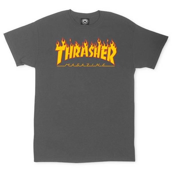 Thrasher T-Shirt Flame - Charcoal Grey