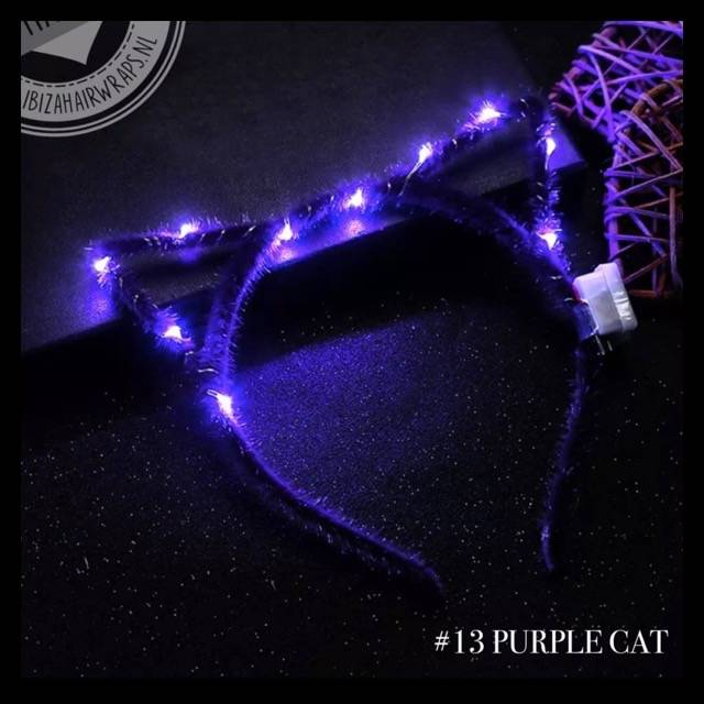 "Led diadeem 'Cats"" purple cat"