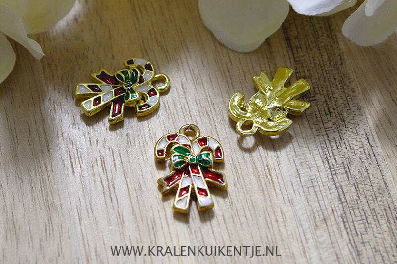 EB015 - Bedels emaille Candy Canes, per stuk