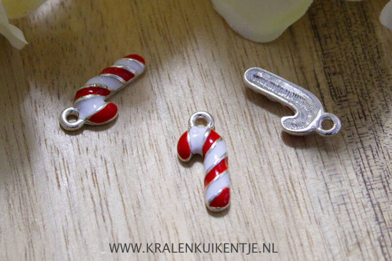 EB016 - Bedels emaille Candy Cane, per stuk