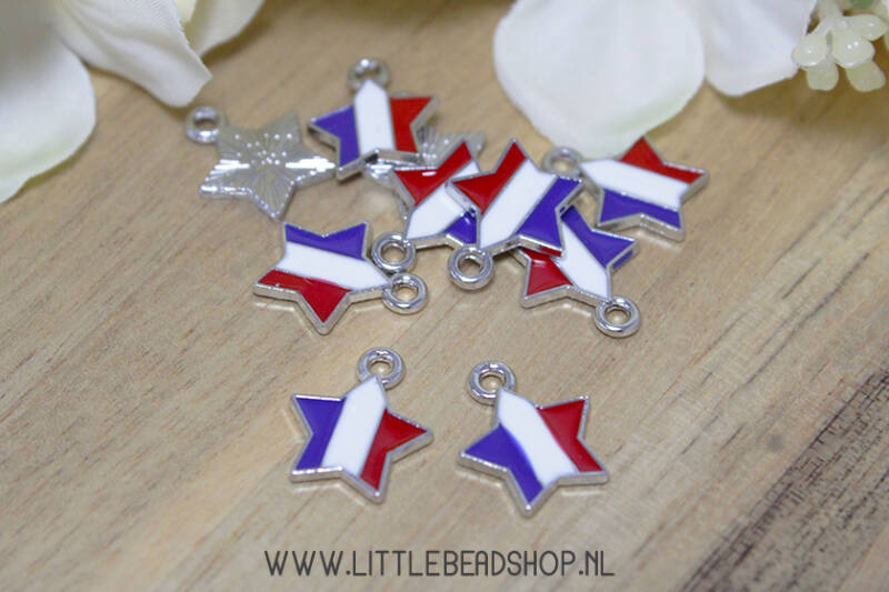 Emaille bedels ster rood/wit/blauw, per stuk - EB084