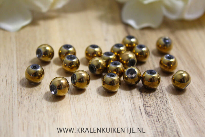 GK063 - Glaskralen metallic goud 8mm