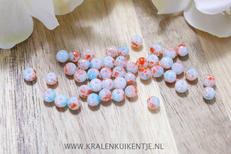 GK084 - Glaskralen marmerlook shine oranje/wit/blauw 4mm