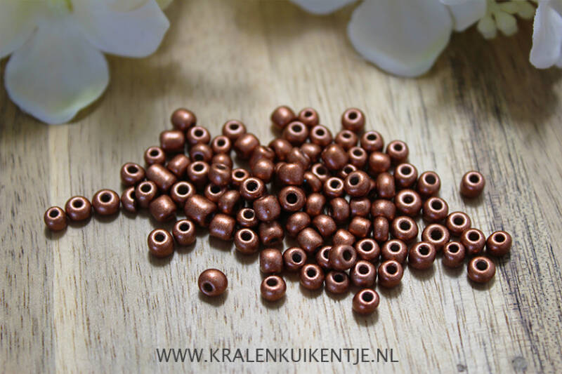 Rocailles copper brown metallic 4mm, 27 gram - GK121