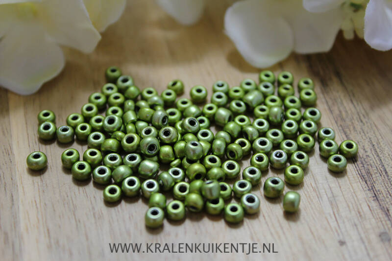 Rocailles Moss Green Metallic 4mm, 27 gram - GK127