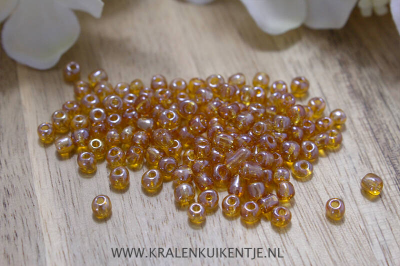 Rocailles Topaz Brown Transparent 4mm, 27 gram - RC028