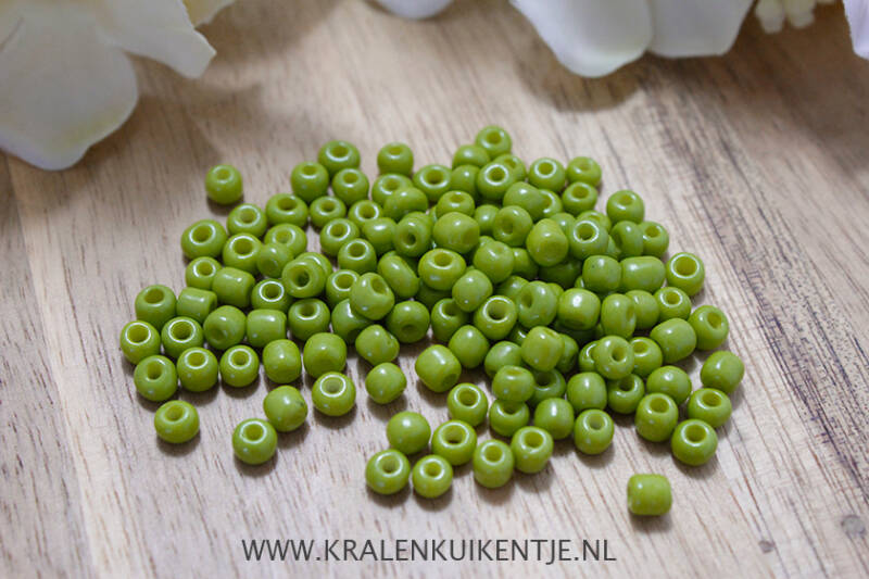 Rocailles Nature Green 4mm, 27 gram - GK134