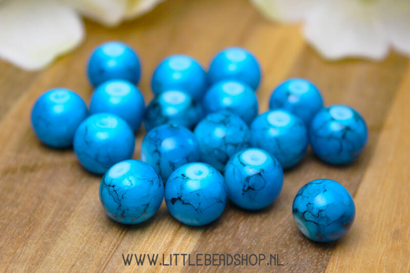 GK017 - Glaskralen marmerlook blauw/zwart 10mm