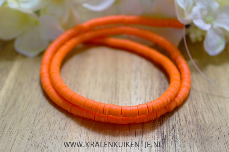 Katsuki Disc Kralen Neon Orange 4mm, per streng - PM015