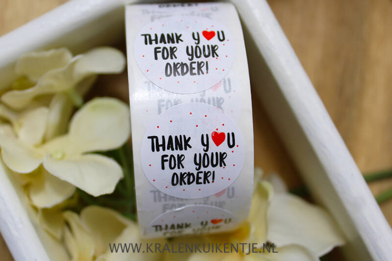 ST003 - Stickers 'Thank you for your order' 25mm, 10 stuks