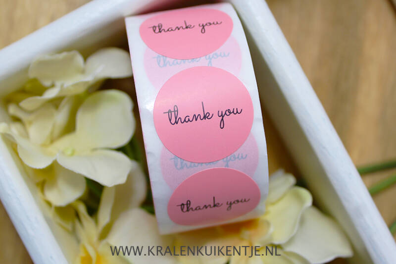 ST004 - Stickers 'Thank You' lichtroze 25mm, 10 stuks