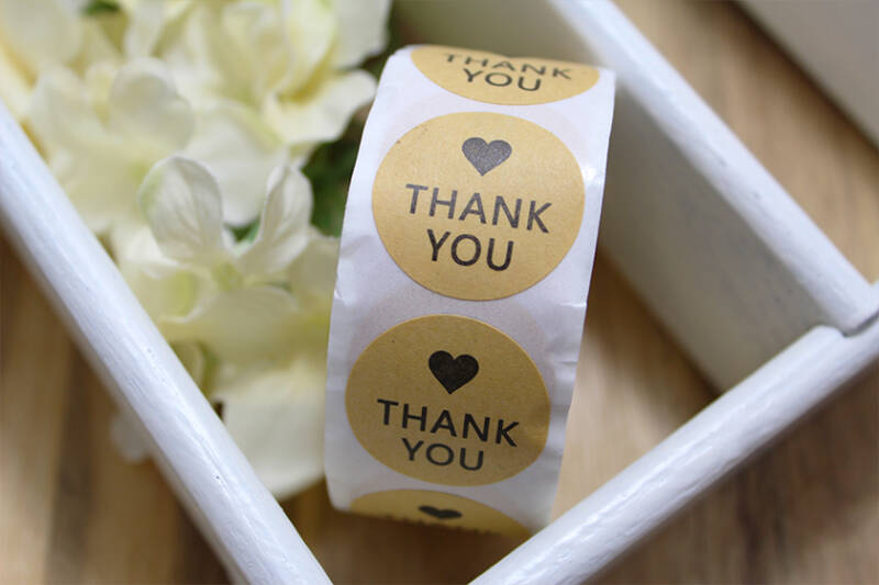ST005 - Stickers 'Thank you' lichtbruin 25mm, 10 stuks