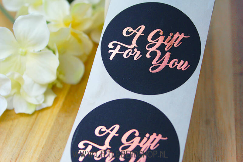 "Sluit Stickers ""A Gift for You"" Black-Bronze, 10 stuks - ST028"