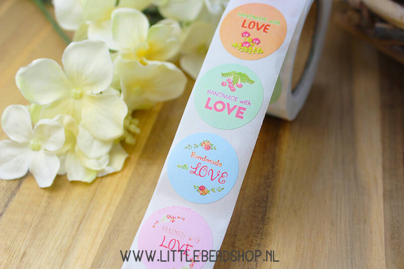 "Sluit Stickers ""Handmade with Love"" Pastel Colours - ST032"