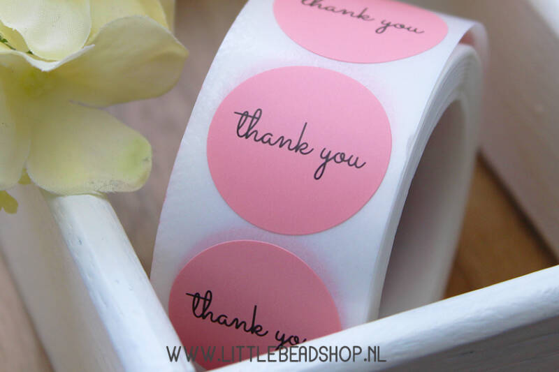 Sluit Stickers 'Thank You' Light Pink 25mm - ST004