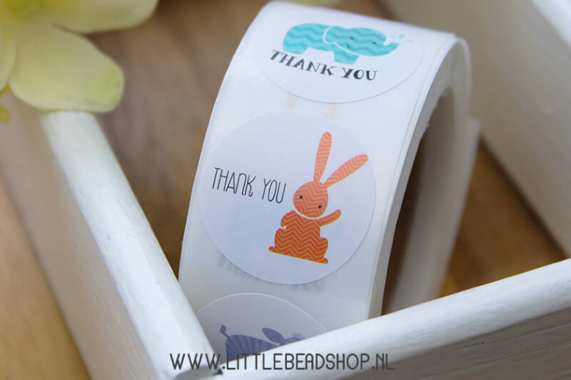 Sluit Stickers 'Thank You' cute animals 25mm, 12 stuks - ST009