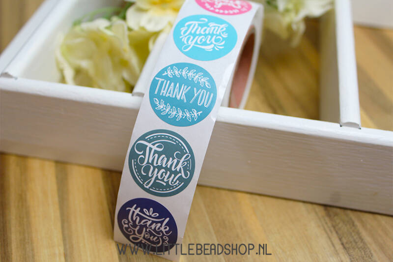 "Sluit Stickers ""Colourfull Thanks"", per 16 stuks / per rol - ST024"