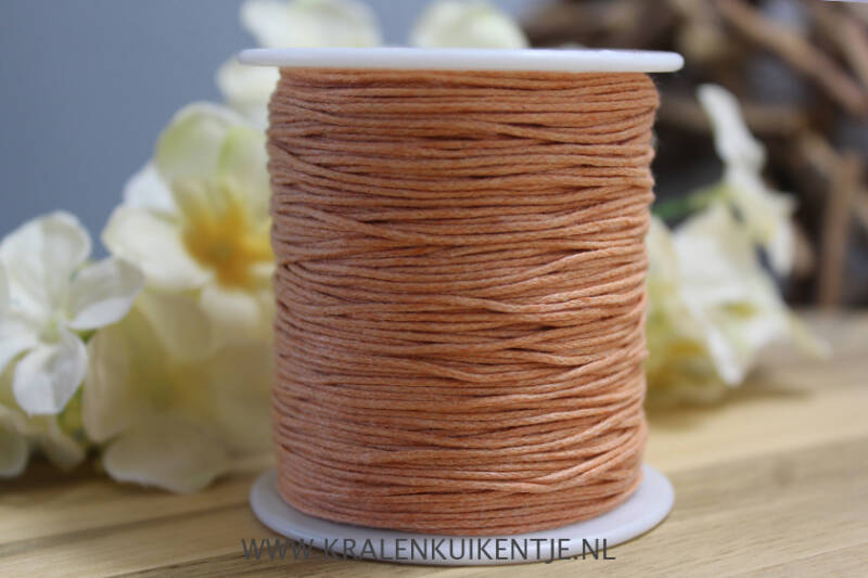 Waxkoord light orange 1mm, per meter - WX013