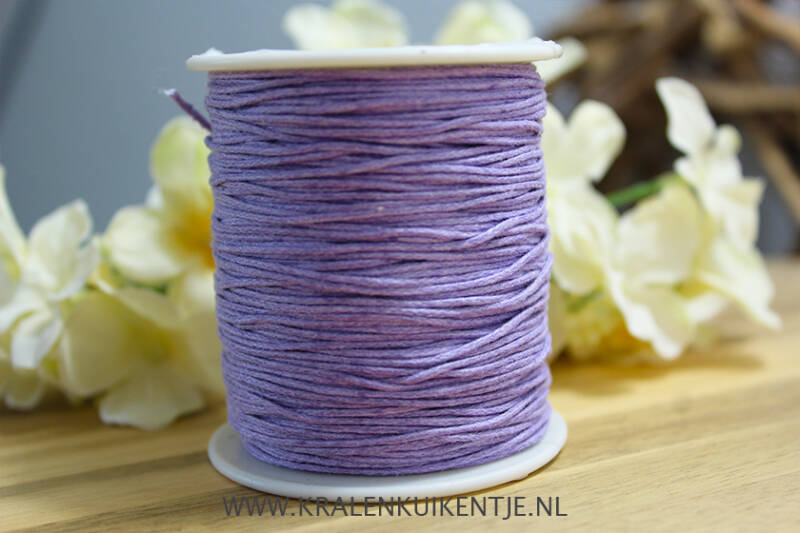 Waxkoord light lavender 1mm, per meter - WX014