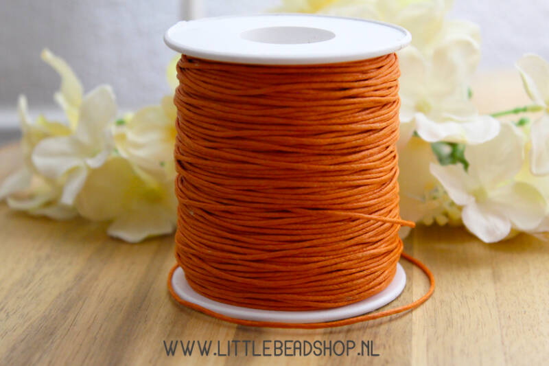 Waxkoord dark orange 1mm, per meter - WX016