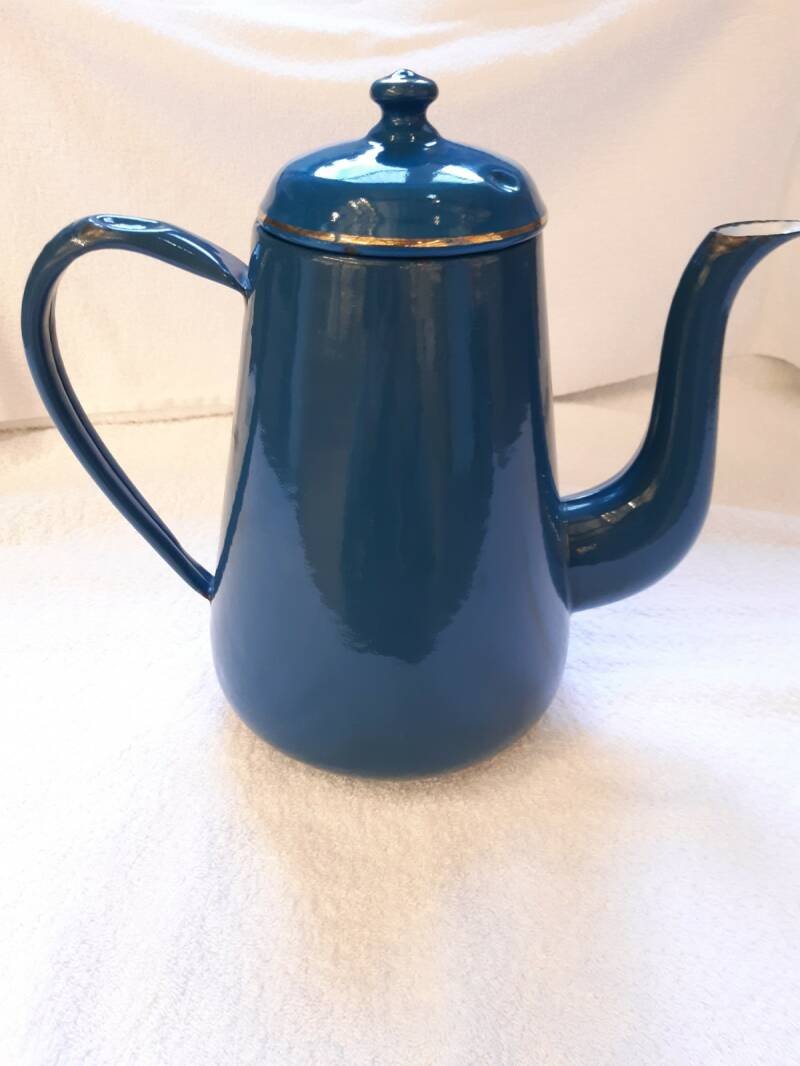 Oude emaille koffiepot petrol blauw