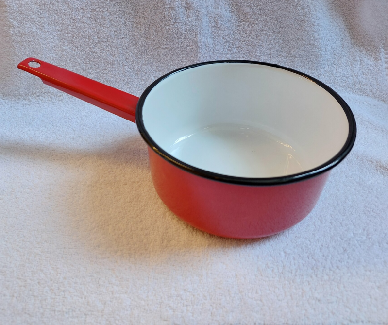 Emaille steelpan rood
