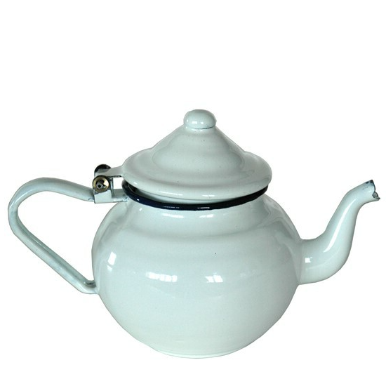Witte emaille koffiepot