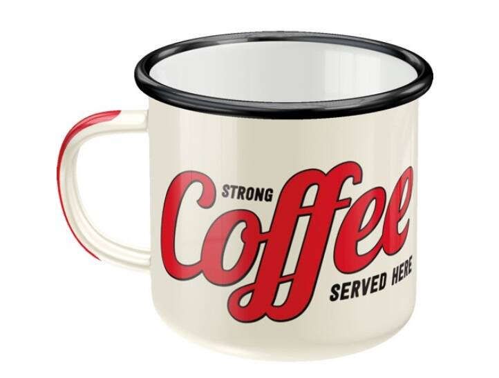 Emaille mok strong coffee